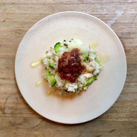 長芋と塩鯖のマッシュサラダ梅肉オイルソース