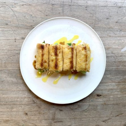 レタスとチーズの揚げ巻き焼き
