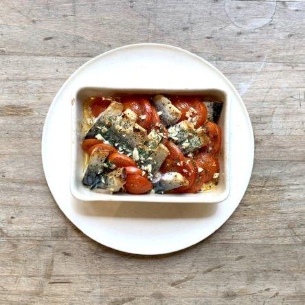 塩サバとトマトのオイル焼き